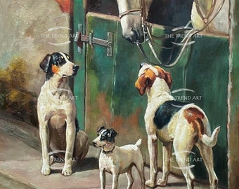 Dogs and Horse at Stable Oil Painting Reproduction Hand-Painted Art on Canvas Museum Quality Vintage Wall Art Decor Ủnamed 24x36