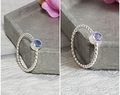 Silver Purple Blue Alexite Ring Gemstone Skinny Stacking Minimalist Ring
