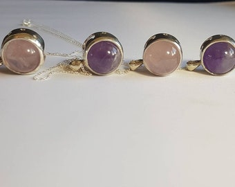 Crystal spinner, rose quartz, amethyst, spinning ball, anxiety jewellery, worry jewellery, spinner ball, silver necklace, 925 necklace, ball