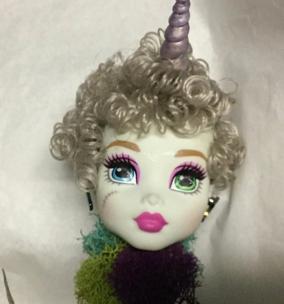 Unicorn Planter - Doll Head Planter -  BJD Monster High vinyl Doll Head with Hanging Faux Air Plant Oddities and Curiosities
