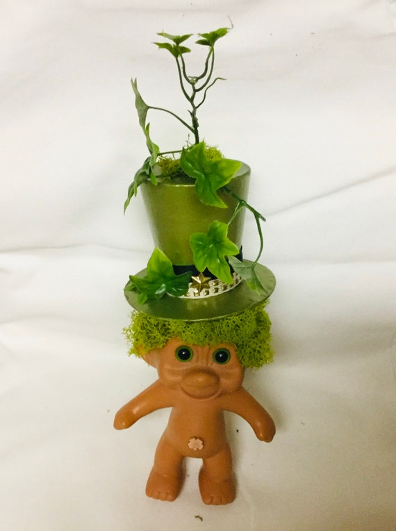 Saint Patrick's Day Vintage TNT vinyl Troll Doll Leprechaun with Faux Ivy Succulent Tall hat and moss for hair