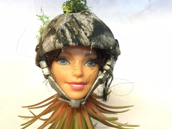 Barbie Doll - Head Planter- GI JANE Barbie vinyl Doll Head Sun Catcher with Hanging Faux Air Plant