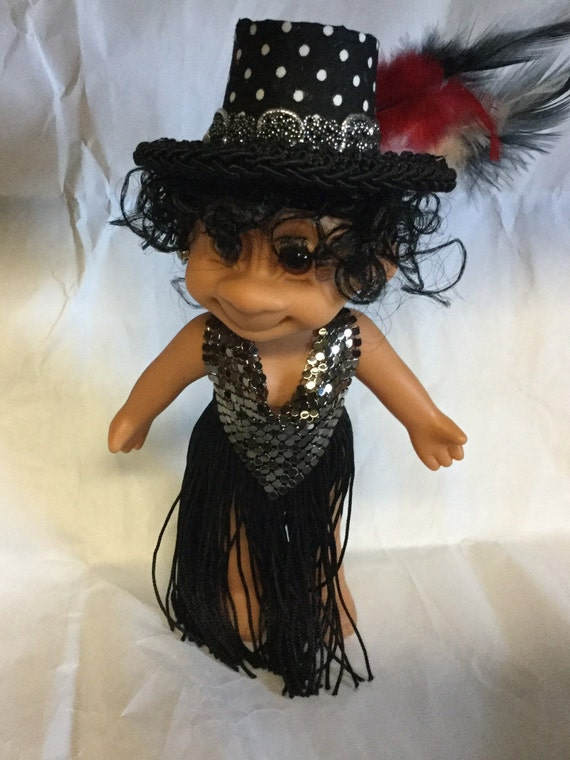 Vintage Troll Doll Party Girl RUSS Troll Doll all Dressed up in black with a designer Hat