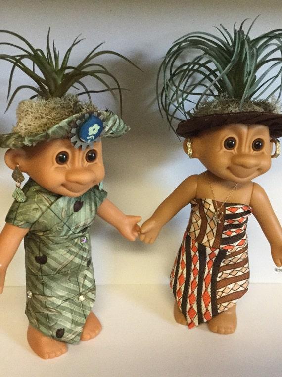 "Troll Head Planters - Vintage Lady Trolls 6"" Lady Girl Trolls Reclaimed vinyl with Faux Plant hair Business Casual Fashion"