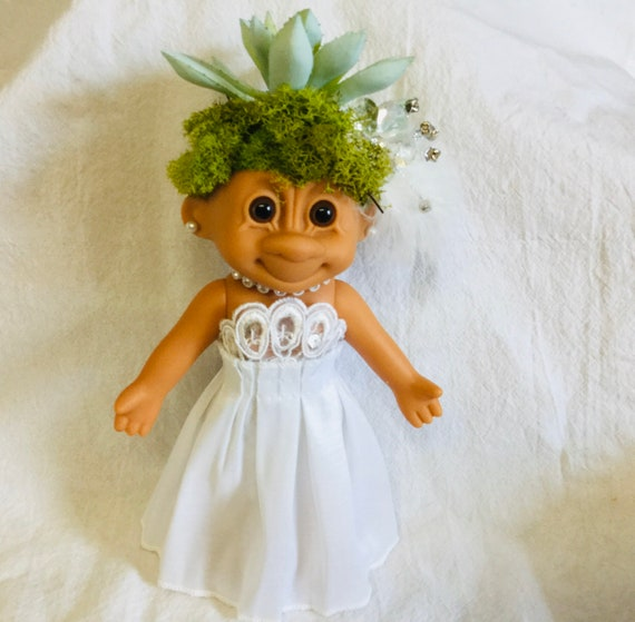 "Vintage 6"" Tracey Travis Troll Collectable HERE COMES the BRIDE Reclaimed vinyl Doll with Faux Plant hair free domestic shipping"