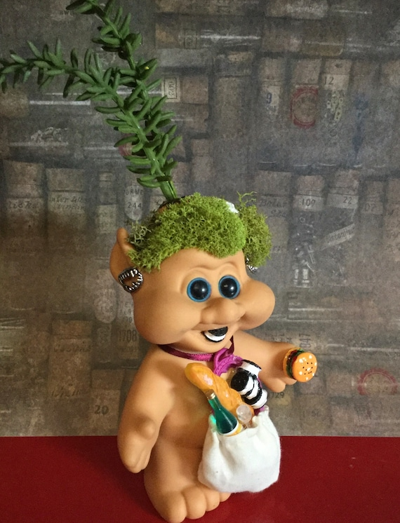 Seven Deadly Sins Dam Troll Doll GLUTTONY Planter Vintage Troll with Faux Rosemary