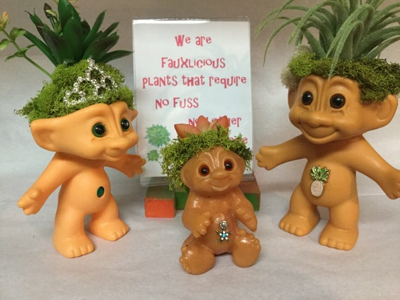 Vintage Baby Trolls on Patrol Reclaimed vinyl Troll Dolls with Faux Plants for hair Oddities and Curiosities free domestic shipping