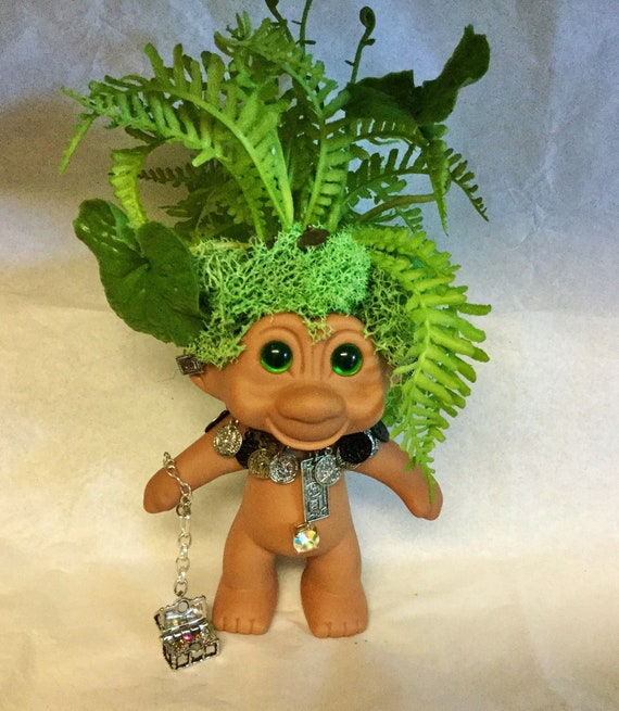 Seven Deadly Sins Troll Doll GREED Planter Vintage TNT Troll with Faux Succulents