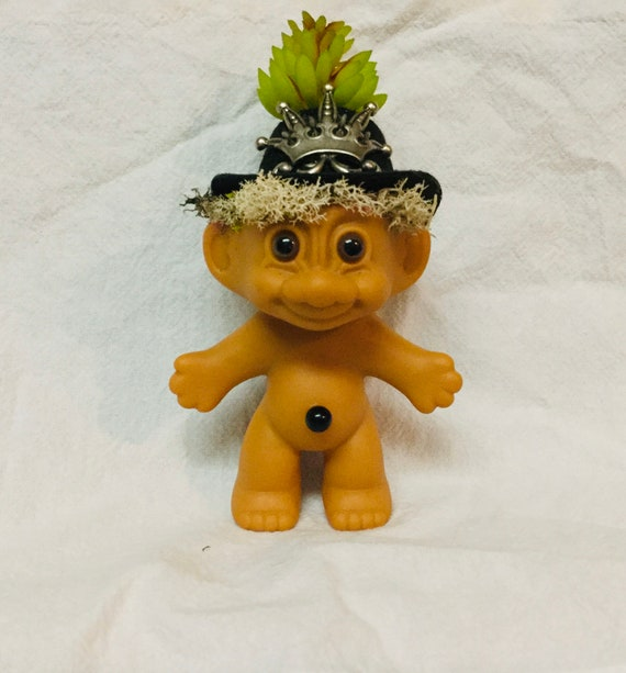 Vintage Trolls on Patrol Reclaimed RUSS vinyl Troll Doll Planter with Faux Succulents for hair Oddities and Curiosities