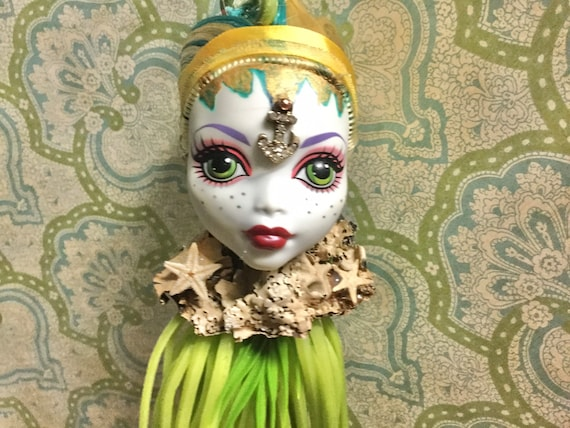 Doll Head Planter - BJD Monster High Mermaid vinyl Doll Head with Hanging Faux Sea Plant Oddities and Curiosities Nautical