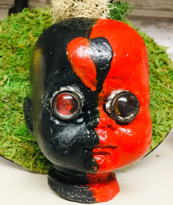 Gothic baby Head Doll face Planter cement cast OOAK , glass eyes Faux Succulents Pirates of the Caribbean Captain Jack of Hearts Steam Punk
