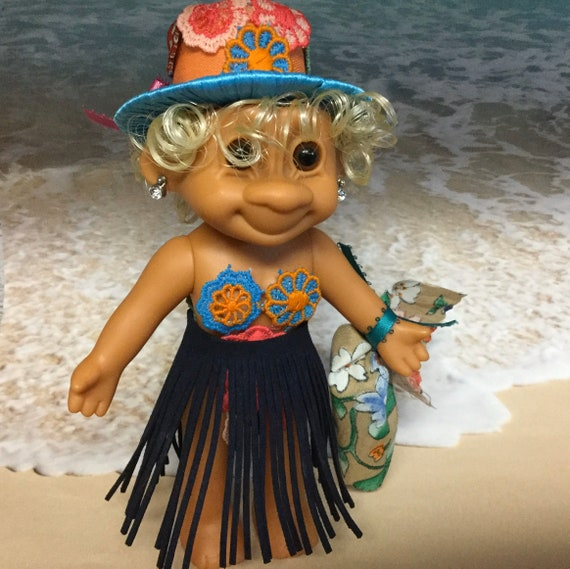 """Troll Planter -  Lady Troll 6"""" Lady Girl Troll on the Beach on Vacation Reclaimed vinyl with Faux Plant hair"""