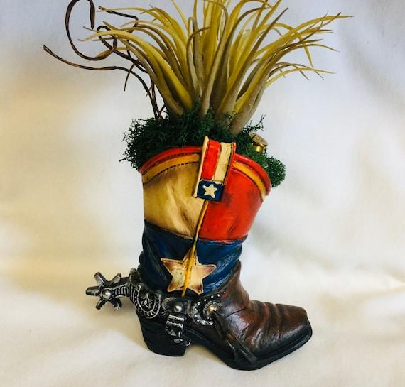 Cowboy boot planter with Faux Succulent