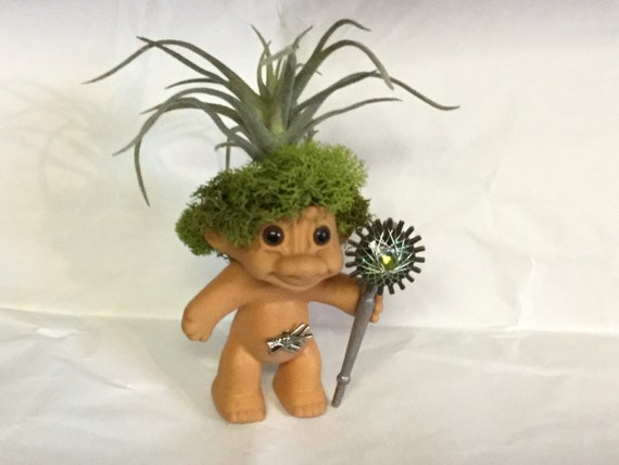 Vintage Trolls on Patrol Reclaimed RUSS vinyl Troll Doll Weekend Warrior with Staff and Faux Succulent for hair