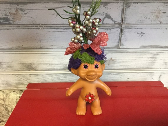 Vintage Trolls on Patrol Reclaimed RUSS vinyl Troll Dolls with Faux Succulents for hair Oddities and Curiosities free domestic shipping