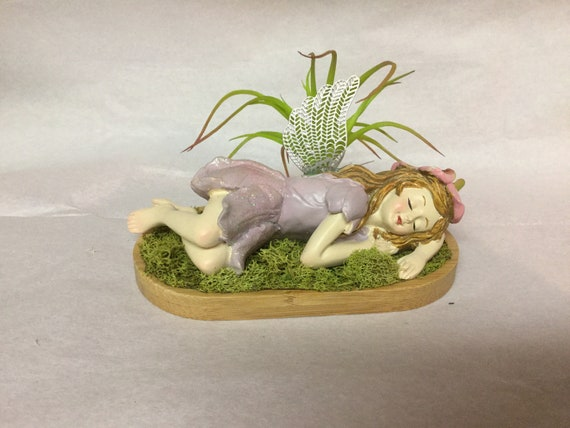 Sleeping Fairy with wings and Faux Succulent Plants laying in soft reindeer Moss on a bamboo tray Beautiful Free Domestic Shipping