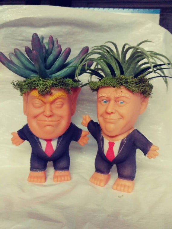 Trump Troll Collectable vinyl Doll with Faux Plant hair  Oddities and Curiosities free domestic shipping