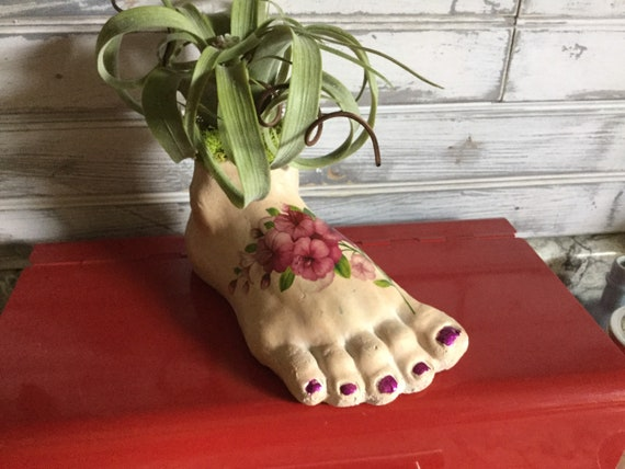 Fancy Foot OOAK with faux Tillandsia Air Plant in plaster Foot planter in bed of moss, decorated with flower tattoo free domestic shipping