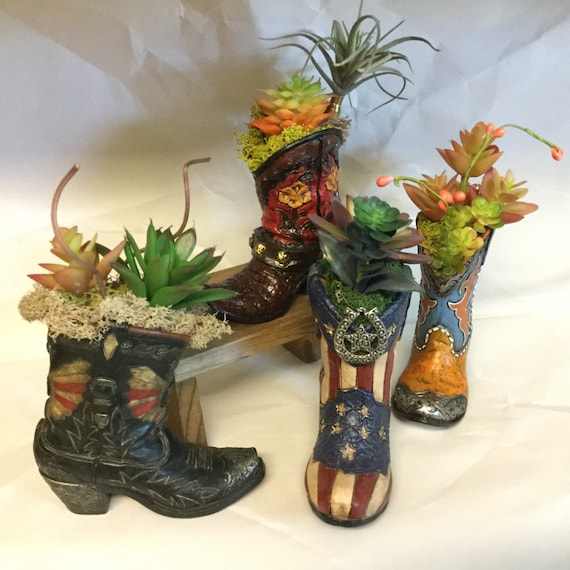 Cowboy boot planter with Faux Succulent