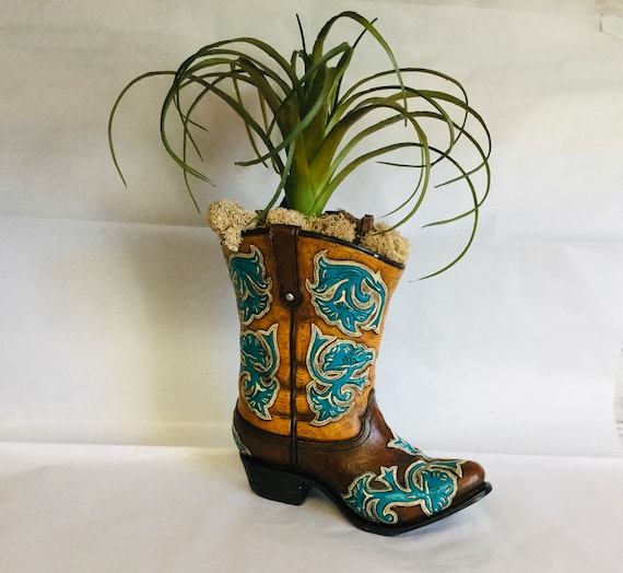 Cowboy boot planter with Faux Succulent Free Domestic Shipping