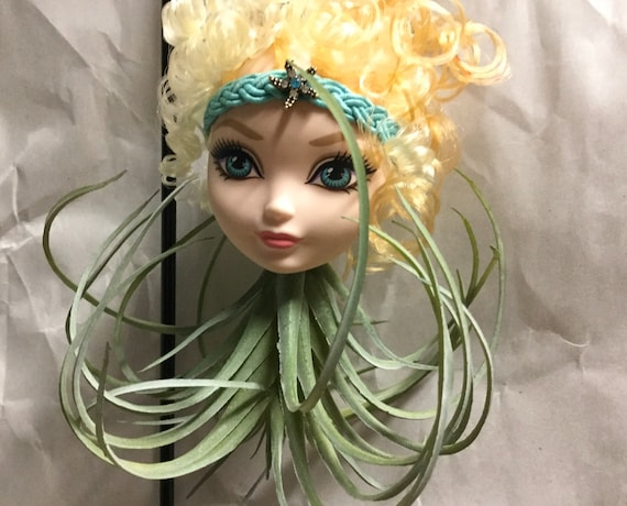CUTE Doll Planter BJD Monster High vinyl Doll Heads with Hanging Faux Air Plant Oddities and Curiosities