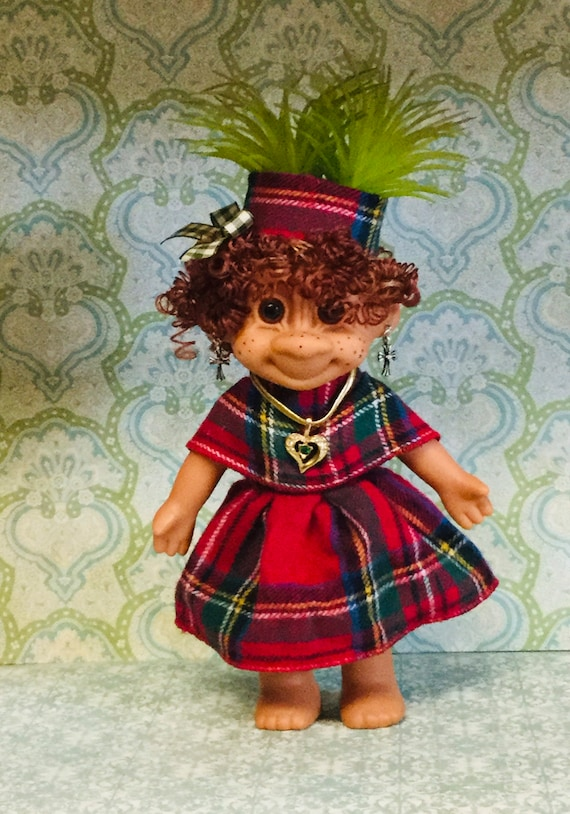 "Troll Planter Air Plant holder 6"" Lady Girl Troll Scottish Lassie in plaid dress with Tam  Faux Plant hair"