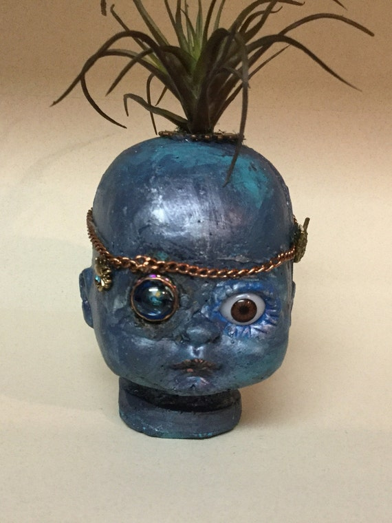 Gothic Pirate Doll Head Ragetti cement OOAK Baby Head Planter, Large glass eye Faux Succulents Pirates of the Caribbean Steam Punk Style