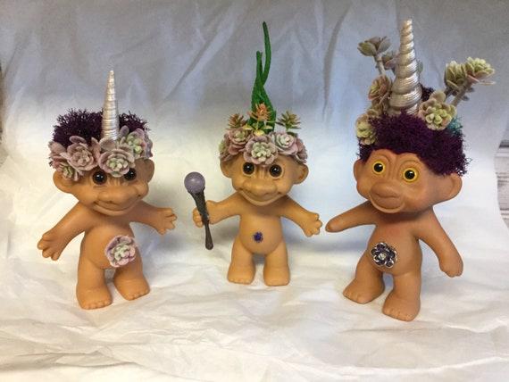 Vintage Trolls on Patrol Reclaimed RUSS vinyl UNICORN Troll Doll Planter Unitroll with Faux Succulents