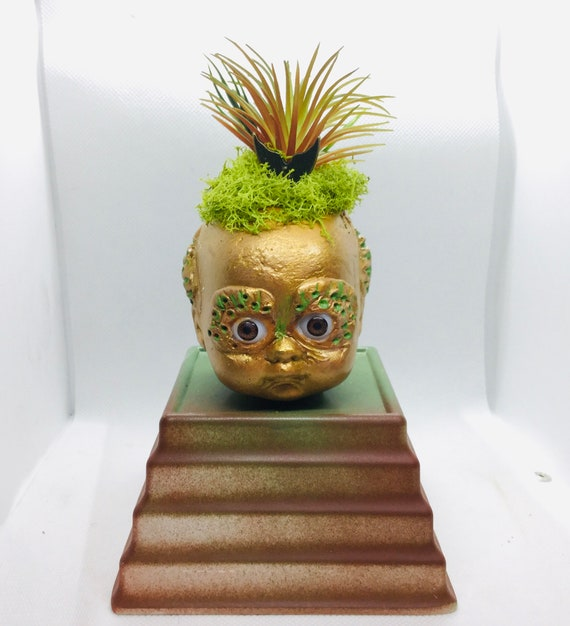 Gothic Bonsai Planter Cement Baby Head FISH BOY Neptune Merman Faux Succulent Great Teacher Professor office Decor