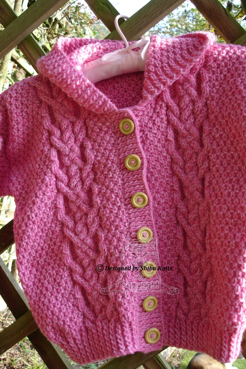 Girls Aran Hoodie Pretty Pink Cables Girls Aran Cardigan image 0