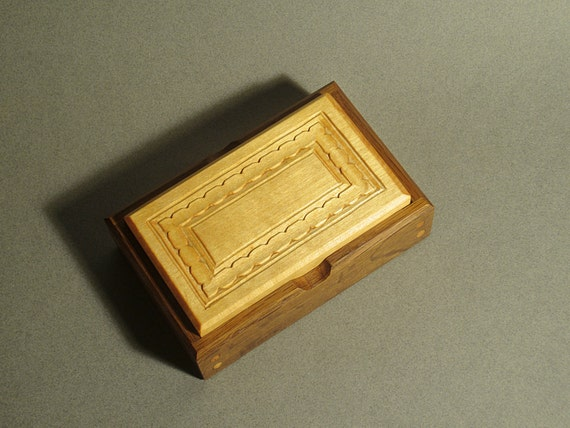 Carved Wood Jewelry Box Decorated Channel Design Etsy