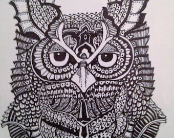 Owl Zen tangle on mixed media paper