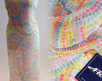 Neon Playful Print Chiffon Fabric - 58 Inches Wide