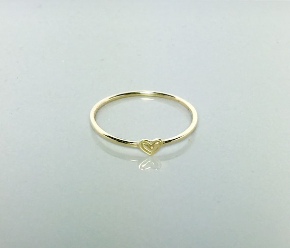 10k or 14k Yellow Gold Cute Cupid Angel in Heart Frame Womens Ring Jewelry