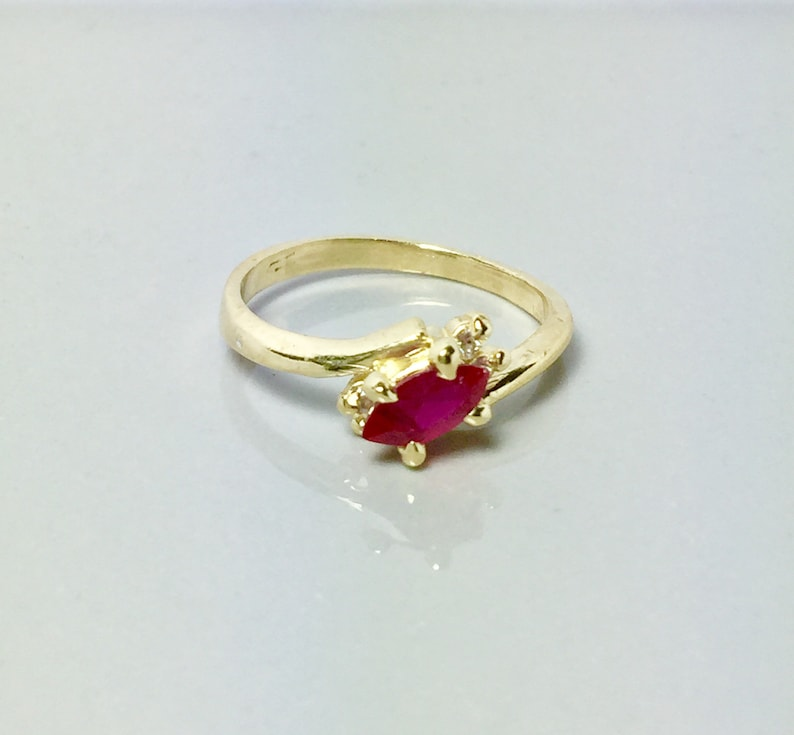 48bfe2cb918e0b New 14k Solid Gold Ladies Ring Simple Gold Rings Ruby Gold | Etsy
