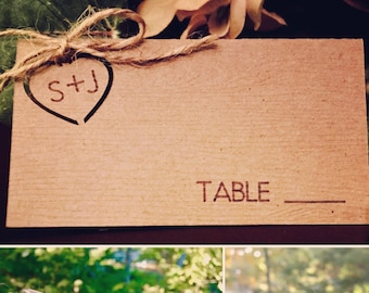 RUSTIC PLACE CARDS for Weddings Personalized  with initials inside the cut-out heart! • Wood embossed card stock • Twine included.