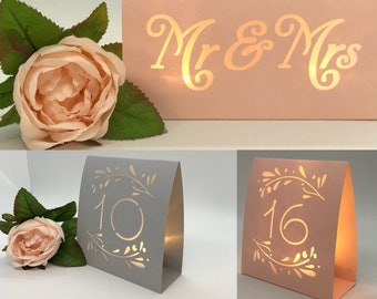 Blush or Gray Table Numbers for Weddings • Self Standing • Luminaries • Winter Wedding • Table number wedding