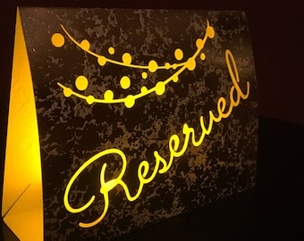 RESERVED signs for weddings • Lighted Signs • Reserved Tables • Self Standing Wedding Sign • FREE Shipping