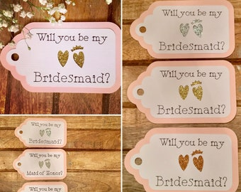 BRIDESMAID PROPOSAL TAGS • Maid of Honor Proposal, Flower Girl, Jr. Bridesmaid • Glitter hearts • Will You Be My Bridesmaid? Thank You Tags