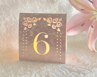 NEW! Rose Gold Waterfall Mercury Glass Table Number Luminaries • Dusty Rose Wedding Table • Luminaries • Lighted Numbers • Self standing
