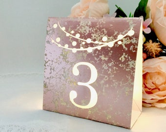 Mercury Glass Table Numbers • Dusty ROSE, GOLD, or SILVER Foil Cardstock • Luminaries • Lighted Numbers • Mix & Match option • Self standing