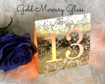BIG NUMBERS Table Number Luminaries • Mercury Glass Cardstock in Silver, Gold, Rose Gold and Copper • Wedding Table Numbers Free Standing