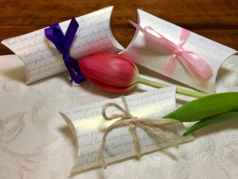 Wedding Favor Pillow Box • LOVE is KIND print on SHIMMER cardstock ...