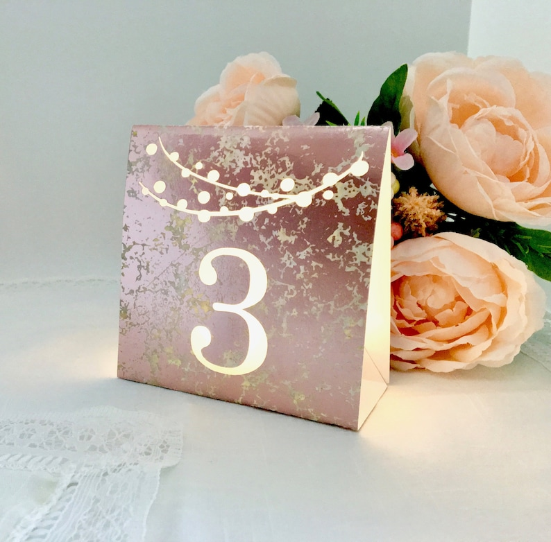 String of Lights Table Numbers  ROSE GOLD SILVER or Copper Rose gold