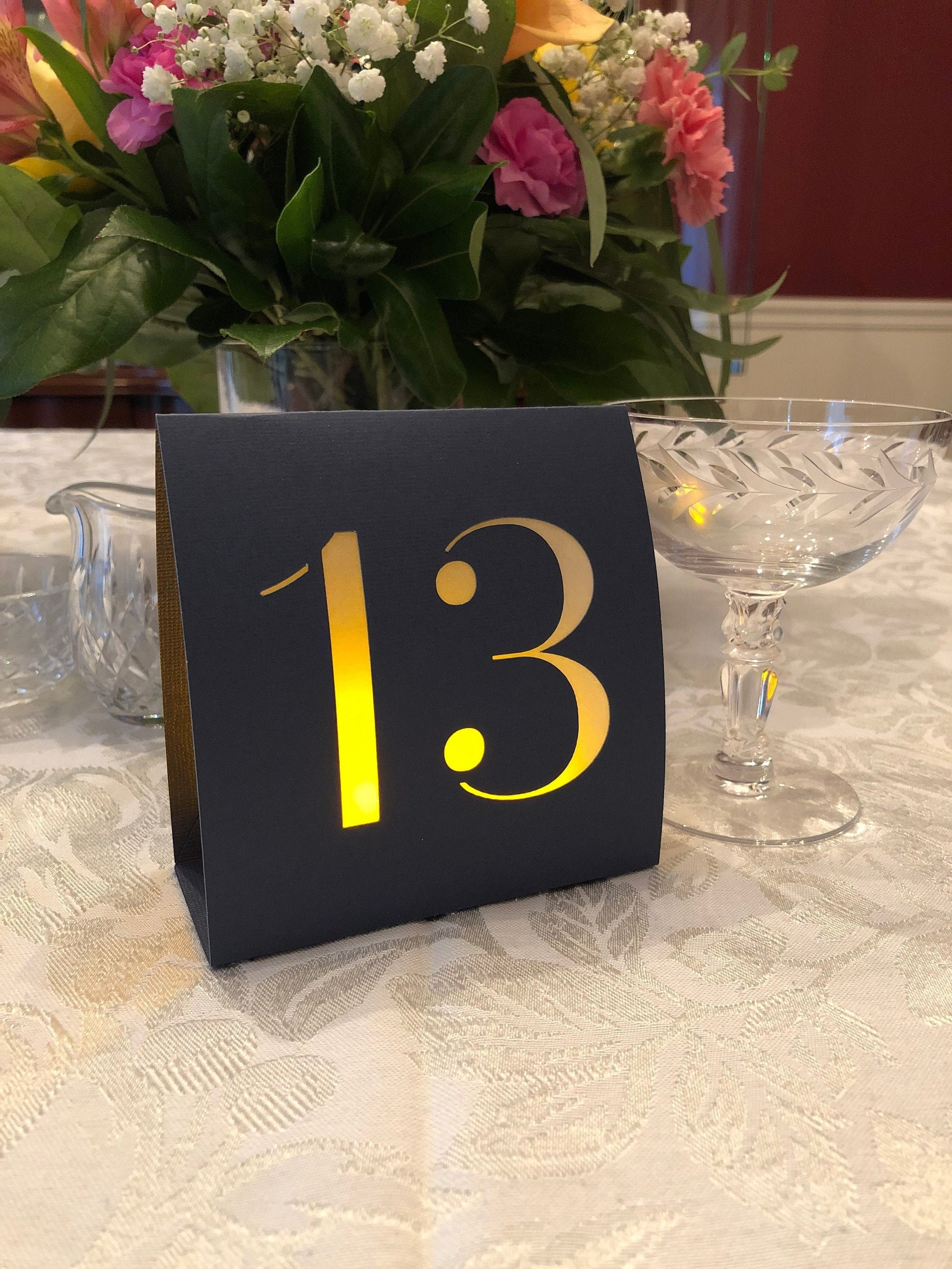 Tent Style Engraved Table Numbers 1-50