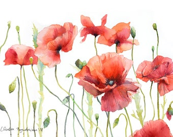 Poppies watercolor etsy poppy watercolor print floral print red poppy flower home decor wall art watercolor contemporary poppy flowers poppies artwork giclee print mightylinksfo