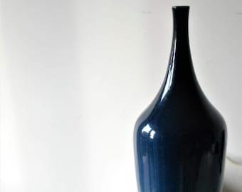 Ceramic bottle vase. Glazed ceramic.Handmade. Vintage.Blue