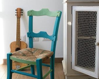Silla de silla francés, paja, años 50, decorado
