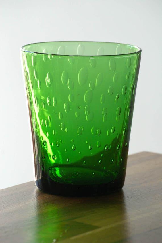 Groene Glazen Vaas.Groene Glazen Vaas Met Luchtbellen 70 Jaar Vintage