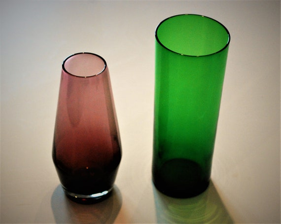 Pair Of Vintage Glass Pots Vases 70s Purple Vase And Green Etsy